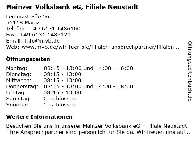 Mainzer Volksbank eG, Filiale Neustadt in Mainz: Adresse und Öffnungszeiten