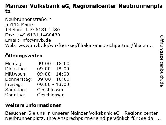Mainzer Volksbank eG, Regionalcenter Neubrunnenplatz in Mainz: Adresse und Öffnungszeiten