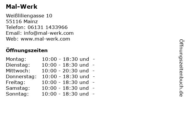 Mal-Werk in Mainz: Adresse und Öffnungszeiten
