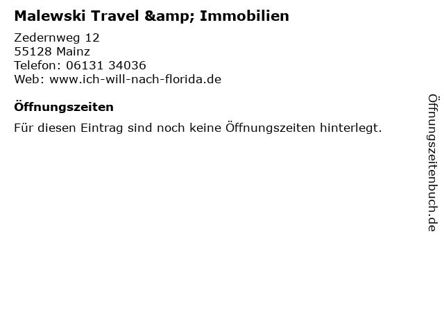 Malewski Travel & Immobilien in Mainz: Adresse und Öffnungszeiten