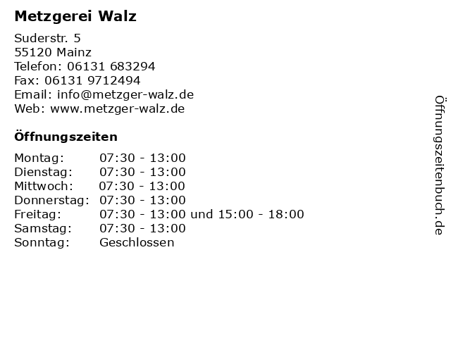 Metzgerei Walz in Mainz: Adresse und Öffnungszeiten
