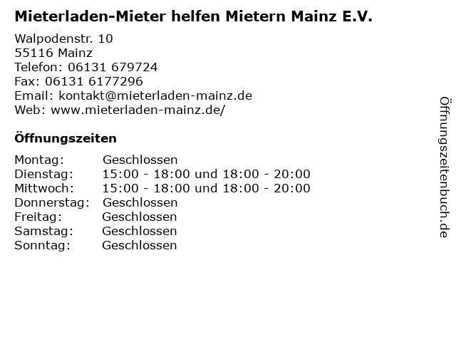 Mieterladen-Mieter helfen Mietern Mainz E.V. in Mainz: Adresse und Öffnungszeiten
