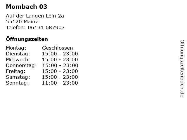Mombach 03 in Mainz: Adresse und Öffnungszeiten