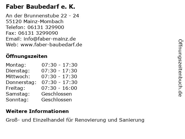 Faber Baubedarf e. K. in Mainz-Mombach: Adresse und Öffnungszeiten