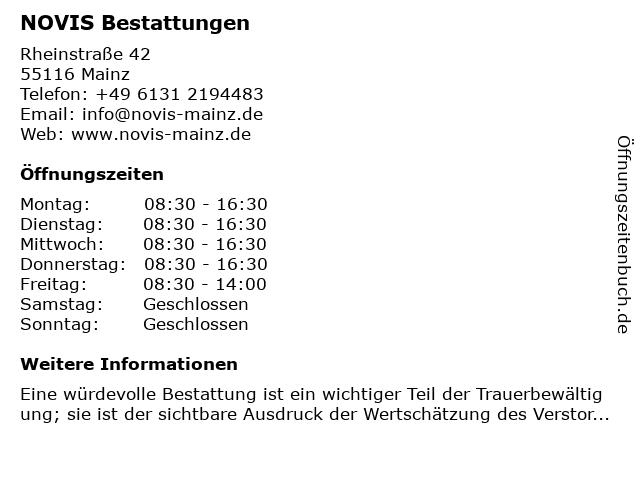 NOVIS Bestattungen in Mainz: Adresse und Öffnungszeiten
