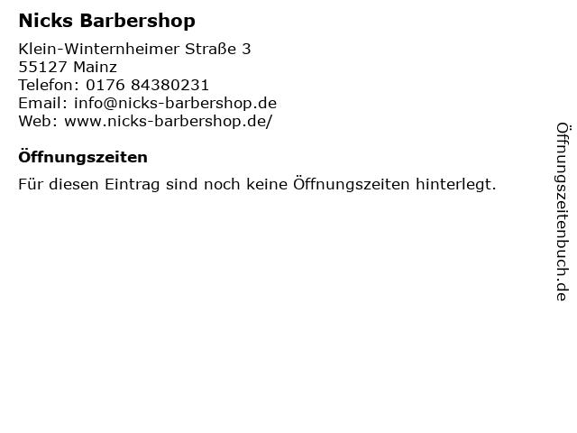 Nicks Barbershop in Mainz: Adresse und Öffnungszeiten