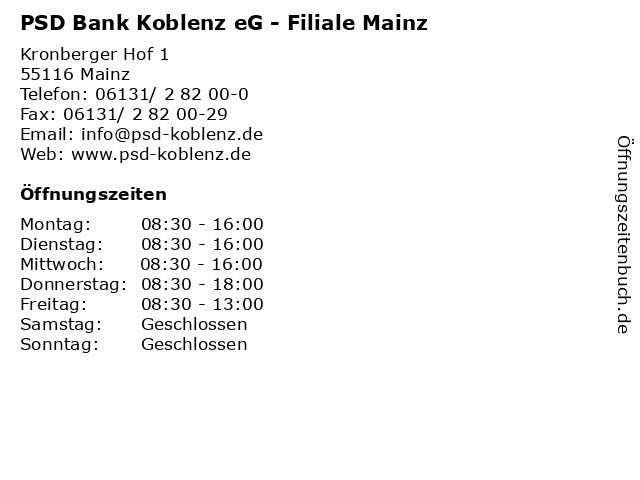 PSD Bank Koblenz eG - Filiale Mainz in Mainz: Adresse und Öffnungszeiten