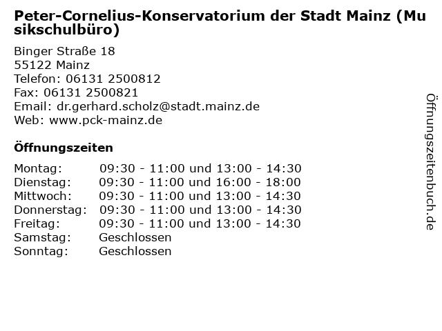Peter-Cornelius-Konservatorium der Stadt Mainz (Musikschulbüro) in Mainz: Adresse und Öffnungszeiten