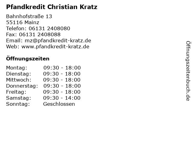 Pfandkredit Christian Kratz in Mainz: Adresse und Öffnungszeiten