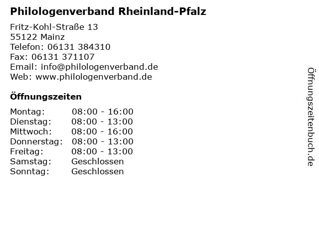 Philologenverband Rheinland-Pfalz in Mainz: Adresse und Öffnungszeiten