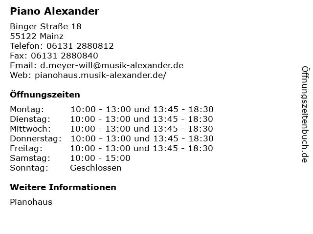 Piano Alexander in Mainz: Adresse und Öffnungszeiten