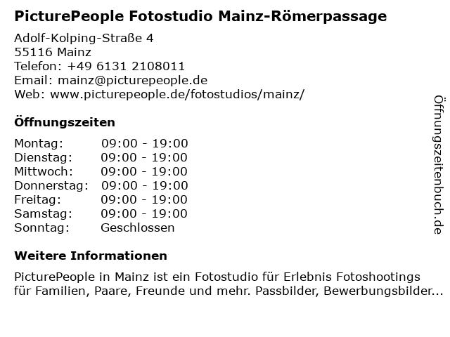 PicturePeople Fotostudio Mainz-Römerpassage in Mainz: Adresse und Öffnungszeiten