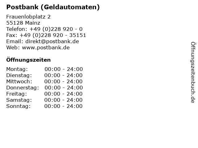 Postbank (Geldautomaten) in Mainz: Adresse und Öffnungszeiten