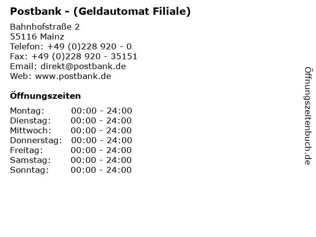 Postbank - (Geldautomat Filiale) in Mainz: Adresse und Öffnungszeiten