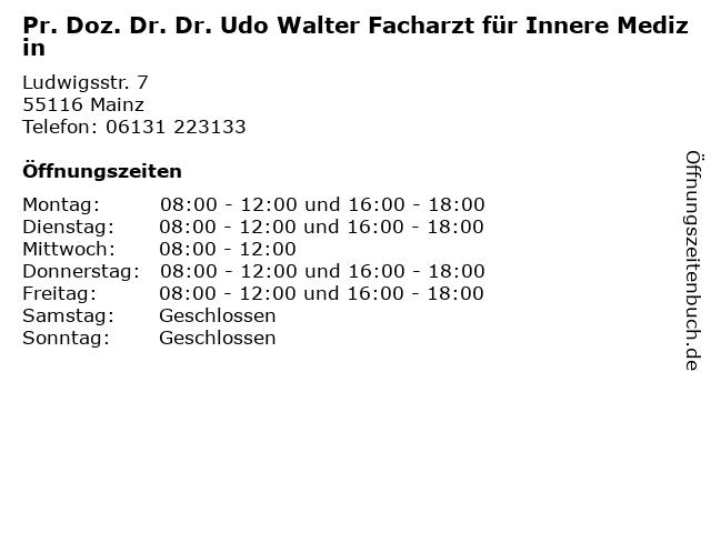 Pr. Doz. Dr. Dr. Udo Walter Facharzt für Innere Medizin in Mainz: Adresse und Öffnungszeiten