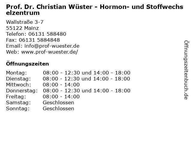 Prof. Dr. Christian Wüster - Hormon- und Stoffwechselzentrum in Mainz: Adresse und Öffnungszeiten