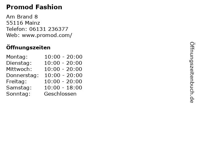 Promod Fashion in Mainz: Adresse und Öffnungszeiten