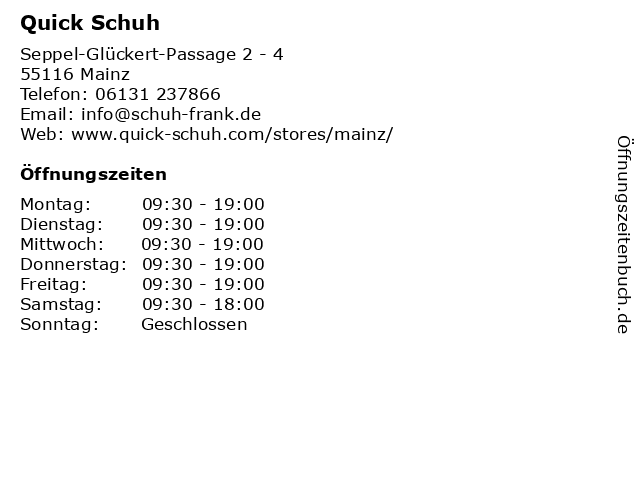 QUICK SCHUH in Mainz: Adresse und Öffnungszeiten