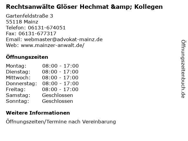 Rechtsanwälte Glöser Hechmat & Kollegen in Mainz: Adresse und Öffnungszeiten