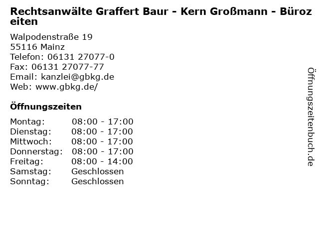 Rechtsanwälte Graffert Baur - Kern Großmann - Bürozeiten in Mainz: Adresse und Öffnungszeiten