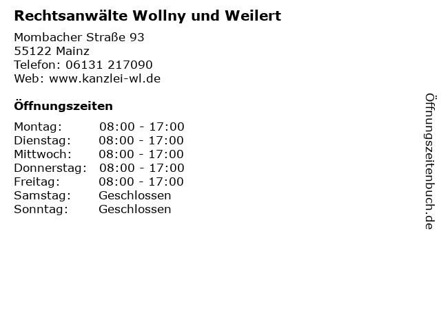 Rechtsanwälte Wollny und Weilert in Mainz: Adresse und Öffnungszeiten