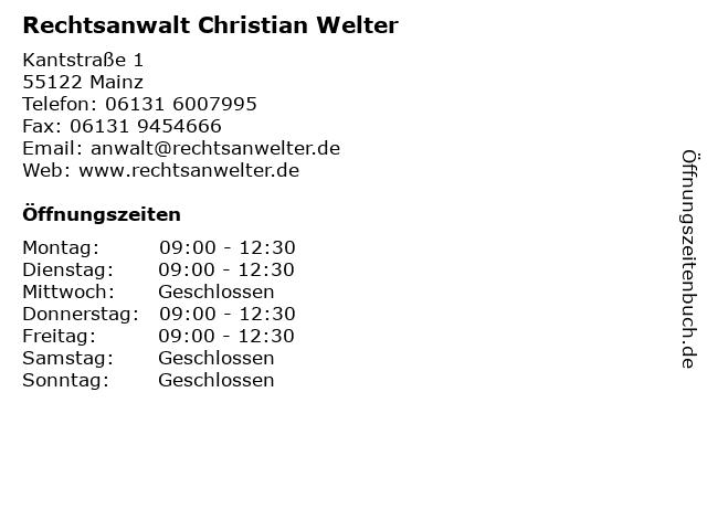 Rechtsanwalt Christian Welter in Mainz: Adresse und Öffnungszeiten