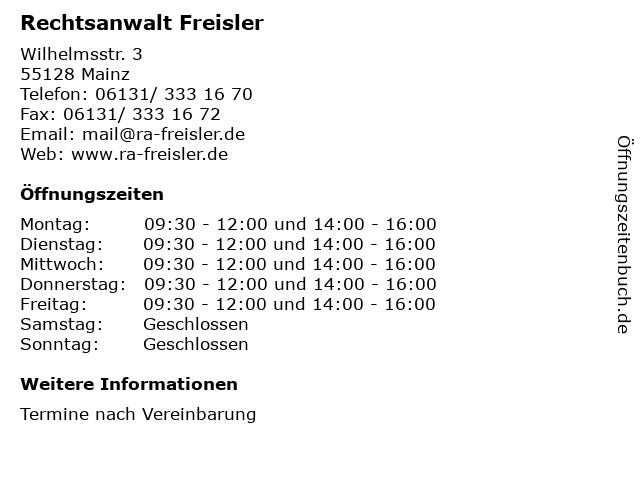 Rechtsanwalt Freisler in Mainz: Adresse und Öffnungszeiten