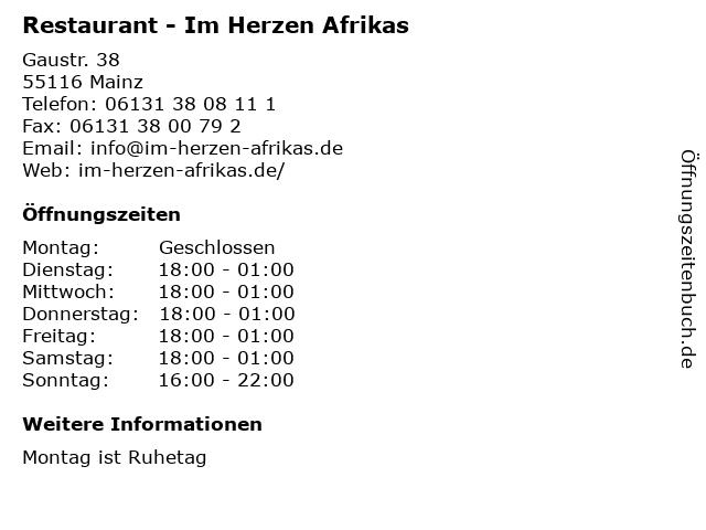 Restaurant - Im Herzen Afrikas in Mainz: Adresse und Öffnungszeiten