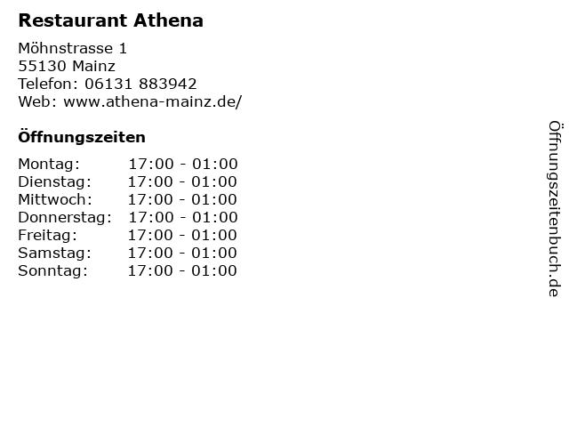 Restaurant Athena in Mainz: Adresse und Öffnungszeiten