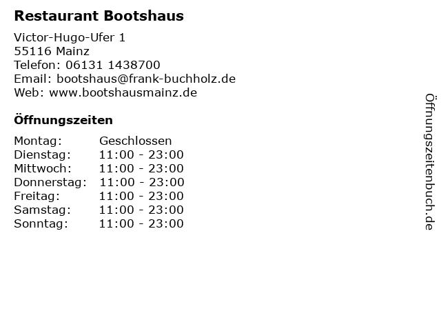 Restaurant Bootshaus in Mainz: Adresse und Öffnungszeiten
