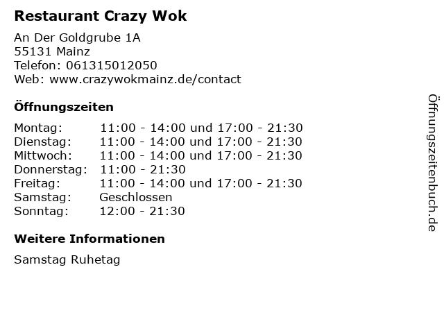 Restaurant Crazy Wok in Mainz: Adresse und Öffnungszeiten