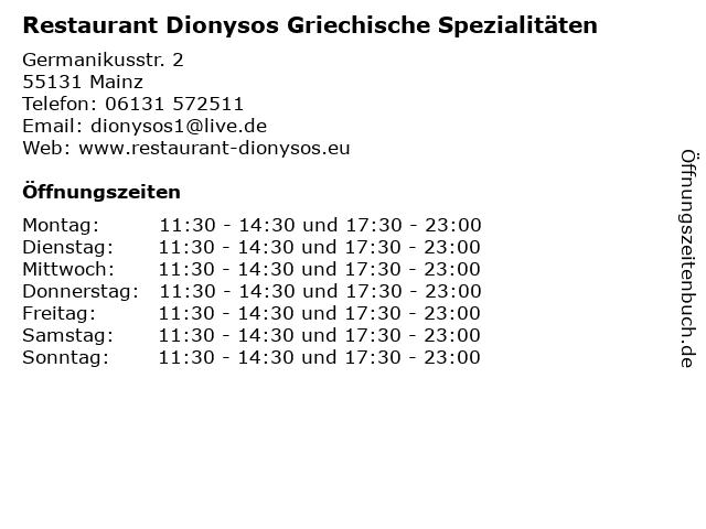 Restaurant Dionysos Griechische Spezialitäten in Mainz: Adresse und Öffnungszeiten
