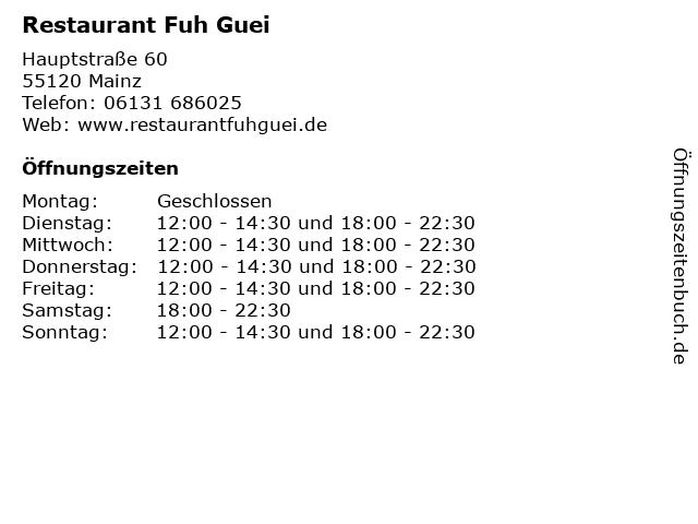 Restaurant Fuh Guei in Mainz: Adresse und Öffnungszeiten