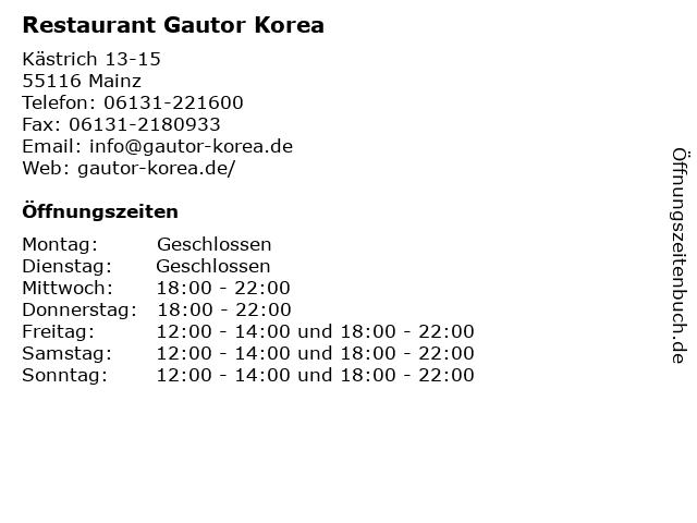 Restaurant Gautor Korea in Mainz: Adresse und Öffnungszeiten
