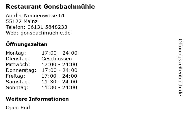 Restaurant Gonsbachmühle in Mainz: Adresse und Öffnungszeiten