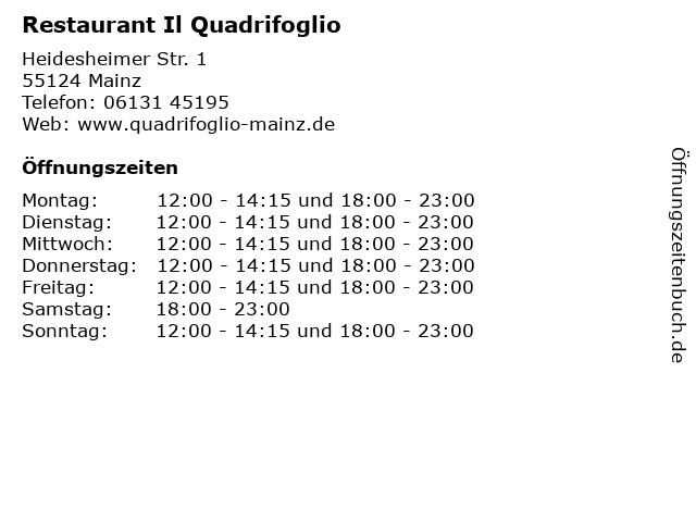 Restaurant Il Quadrifoglio in Mainz: Adresse und Öffnungszeiten