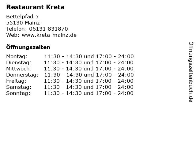 Restaurant Kreta in Mainz: Adresse und Öffnungszeiten