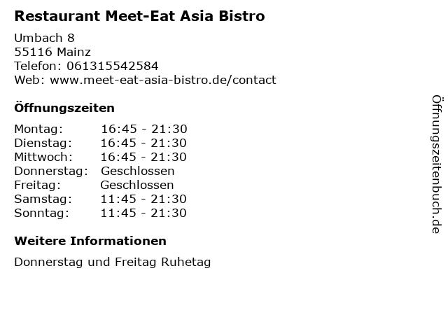 Restaurant Meet-Eat Asia Bistro in Mainz: Adresse und Öffnungszeiten