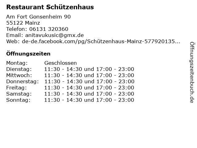 Restaurant Schützenhaus in Mainz: Adresse und Öffnungszeiten