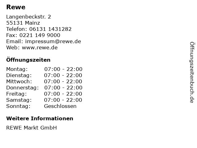 REWE Markt GmbH in Mainz: Adresse und Öffnungszeiten