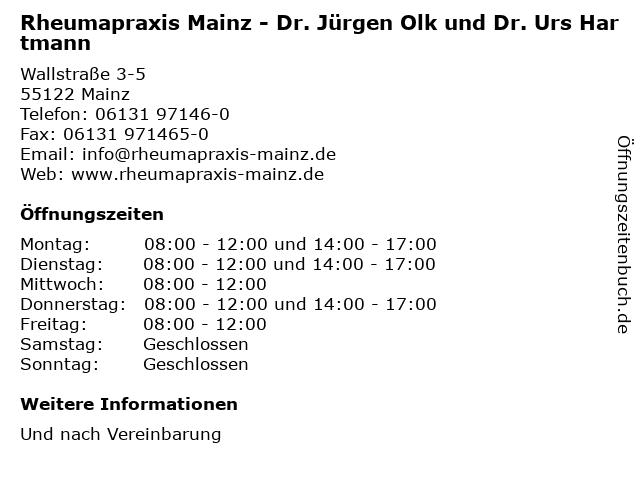 Rheumapraxis Mainz - Dr. Jürgen Olk und Dr. Urs Hartmann in Mainz: Adresse und Öffnungszeiten