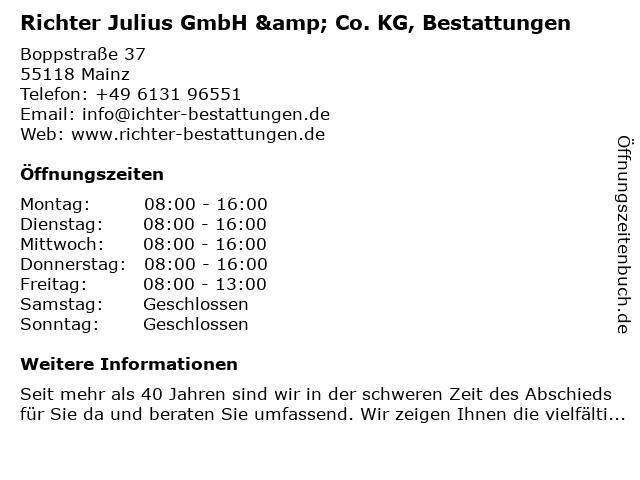 Richter Julius GmbH & Co. KG, Bestattungen in Mainz: Adresse und Öffnungszeiten