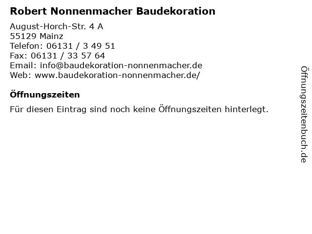 Robert Nonnenmacher Baudekoration in Mainz: Adresse und Öffnungszeiten