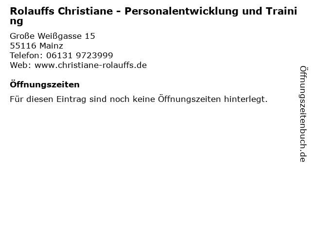 Rolauffs Christiane - Personalentwicklung und Training in Mainz: Adresse und Öffnungszeiten