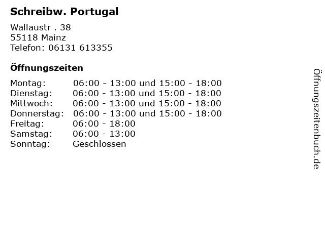 Schreibw. Portugal in Mainz: Adresse und Öffnungszeiten