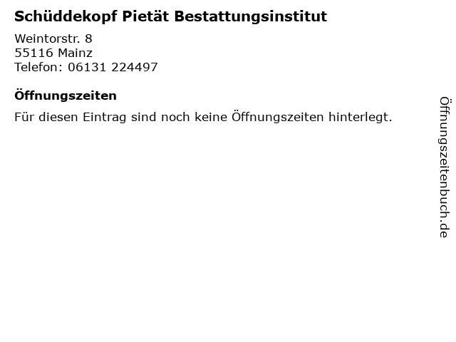 Schüddekopf Pietät Bestattungsinstitut in Mainz: Adresse und Öffnungszeiten