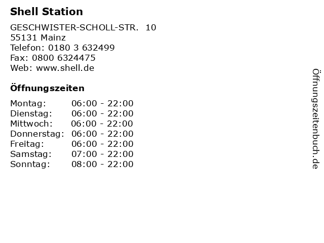 Shell Station in Mainz: Adresse und Öffnungszeiten