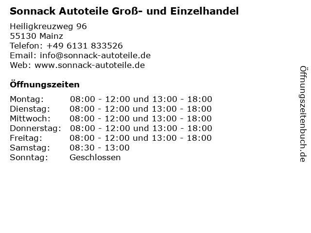 Sonnack Autoteile Groß- und Einzelhandel in Mainz: Adresse und Öffnungszeiten
