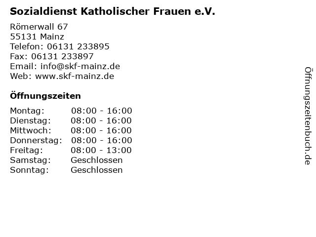 Sozialdienst Katholischer Frauen e.V. in Mainz: Adresse und Öffnungszeiten