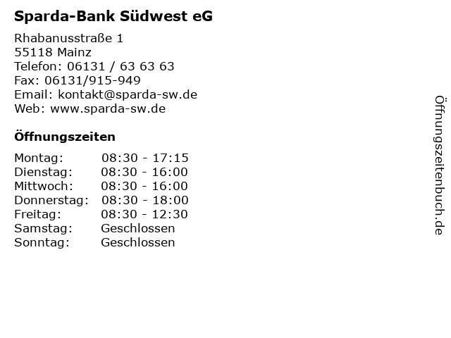 Sparda-Bank Südwest eG in Mainz: Adresse und Öffnungszeiten